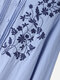 Floral Embroidered Pleated Fungus O-neck Button Cotton Shirt for Women - Blue