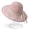 النساء طوي الدانتيل القوس الشمس دلو قبعة القش في الهواء الطلق عارضة السفر شاطئ البحر قبعة