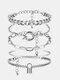 Hip Hop Lock Bracelet Metal Geometric Round Buckle Bracelet Set - Silver