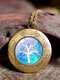 Vintage Glass Printed Women Necklaces Tree Of Life Phase Box Pendant Sweater Chain - #12
