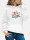 Calico Printed Long Sleeve Casual Hoodie For Women - White