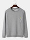 Mens Funny Gesture Chest Print Round Neck Casual Cotton Sweatshirts - Gray