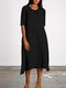 Casual Cotton 3/4 Sleeve Plus Size Dress with Pockets - Black