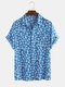 Daisy Spray Floral Printed Cotton Holiday Casual Short Sleeve Shirt For Men Women - Blue
