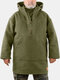 Mens Solid Color Bandage Designer Overhead Casual Pullover Snood Hoodie - Green