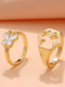 2 Pcs Trendy Brief Butterfly Hollow Out Alloy Rings - Gold