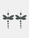 Vintage Colored Dragonfly Women Earrings Diamond Mount Pendant Earrings - Green