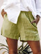 Solid Color Elastic Waist Shorts For Women - Green