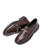 Women Metal Rhinestone Decoration Comfortable Flat Loafers Shoes - Brown