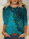 Casual Print O-neck Long Sleeve Plus Size Cotton T-shirt for Women - Blue