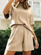Solid Color Crew Neck Short Sleeve Suit for Women - Apricot