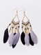 Alloy Feather Bohemia Fringed Feather Earrings Long For Women - Gray