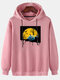 Mens Funny Pumpkin Graphic Print Solid Loose Pullover Hoodies - Pink