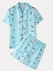 Men Light Blue Print Pajamas Set Two Pieces Faux Silk Sleepwear Home Soft Cozy Loungewear - Blue