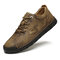 Men Rubber Toe Hand Stitching Microfiber Leather Casual Shoes - Khaki