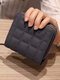 Women PU Leather Quilted Bag Money Clips Multi-card Slots Coin Purse Wallet - Gray
