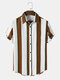Mens Wide Striped Button Up Vintage Short Sleeve Shirts - Brown