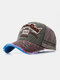 Men Washed Cotton Embroidery Baseball Cap Outdoor Sunshade Adjustable Hats - Green
