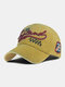 Men Embroidery Letter Pattern Baseball Cap Outdoor Sunshade Adjustable Hat - Yellow