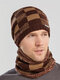 Men 2PCS Plaid Plus Velvet Thick Winter Outdoor Keep Warm Neck Protection Headgear Scarf Knitted Hat Beanie - Coffee