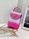 Casual Stylish Gradient Color Heart-shaped Flap Pyramid Pattern PVC Jelly Bag Clutch Shoulder Bag - #01