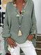 Langärmlige, einfarbige, lose Bluse mit V-Ausschnitt für Damen - Grün