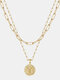 Luxury Layering Paperclip Chain Women Necklace 26 Initials Coin Pendant 14K Gold Plated Necklace Clavicle Chain - T