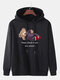 Mens Check Bear Letter Print Cotton Drawstring Hoodies With Pouch Pocket - Black
