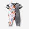 Baby Animal Striped Print Short Sleeves Patchwork Casual Rompers For 6-24M - As Picture