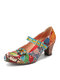 SOCOFY Elegant Flowers Decor Printed Stitching Floral Cloth Hook Loop Non Slip Mary Jane Chunky Heel Pumps - Red