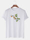 Mens Funny Planet Print Cotton Round Neck Casual Short Sleeve T-Shirts - White
