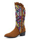 Women Casual Retro Elegant Geometric Pattern National Style Mid-Calf Boots - Brown