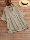Blusa de media manga con cuello en V liso vendimia para Mujer - Caqui