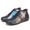 SOCOFY Retro Pattern Folkways Craft Cloth Splicing Solid Color Lace Up Soft Flat Boots - Dark Blue