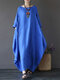 Vintage Women Solid 3/4 Sleeve Loose Maxi Dress with Pocket - Blue