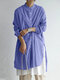 Striped Button Long Sleeve Loose Casual Blouse For Women - Blue