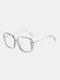 Men Anti-Blue Glasses Flat Mirror Square Glasses Frame Women Leopard Myopia Eyeglasses Frame - Gray