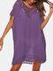 女性の中空Vネック薄い日焼け止めドレスビーチカバーアップ - 紫