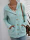 Casual Solid Color Long Sleeve Button Hooded Sweater - Green