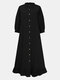 Solid Color Button Ruffled Neck Hem Long Sleeve Casual Dress For Women - Black