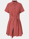 Women Solid Color Lapel Button Knotted Short Sleeve Casual Dress - Red