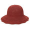 Womens Foldable Hollow Solid Bucket Cap Wild Breathable Outdoor Travel Sun Straw Hat - Red