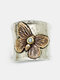 Vintage Alloy Carved Women Ring Two-Color Butterfly Ring Jewelry Gift - Silver