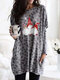 Christmas Leopard Print O-neck Long Sleeve Plus Size Blouse with Pocket - Grey