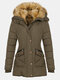 Solid Color Long Sleeve Plush Hooded Button Coat - Army Green