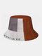 メンズポリエステルコットンカラーマッチレターパターンプリントファッションサンクリーンバケットハット - #01