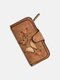 Women Butterfly Four Fold Wallet Purse 14 Card Slot 5.5 Inch Phone Bag - Brown
