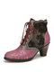 SOCOFY Retro Genuine Leather Splicing Embossed Rose Lace Up Zipper High Heel Ankle Boots - Purple