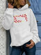 Casual Flowers Print Plus Size Hoodie for Women - White