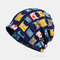 Women Vintage Cat Pattern Ethnic Cotton Beanie Hat Good Elastic Breathable Summer Turban Caps - Blue